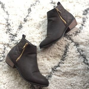 JustFab Quilted Brown Booties